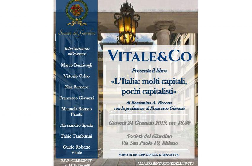 """Vitale & Co. presenta il libro """"L'Italia: molti capitali, pochi capitalisti"""""""